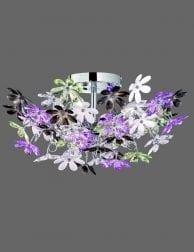 Grote plafondlamp met paars en wittebloemen